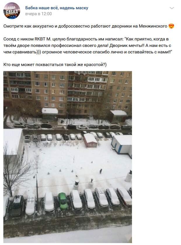 Фото дня: житель улицы Менжинского похвастался  дворником мечты
