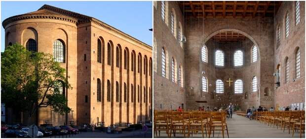 Фасад и интерьер Базилики Константина и Трире (начало 4 в.н.э.). /Фото: wikipedia.org