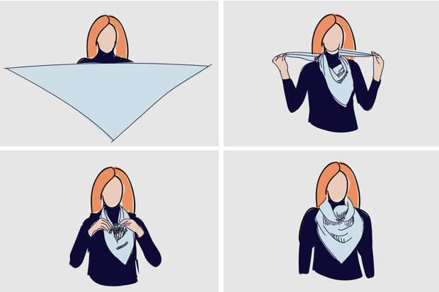 как завязывать платок на куртку фото