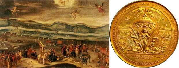 Глумление победителя, калифа на час: «Капитуляция осадной армии Шеина перед королём Владиславом IV» (триумфальная картина), справа - памятная медаль в честь польско-литовской победы в Смоленской войне