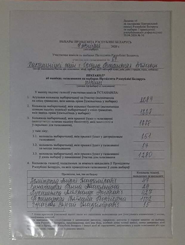 Фото одного из протоколов, где отмечено огромное преимущество Светланы Тихановской