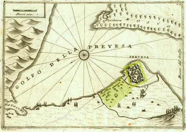 Крепость и местечко Превеза на карте Коронелли 1707 года. Направление на север — влево-вниз, линейка в 100 венецианских саженей — 175 м. После модернизации появилась восьмая башня внутри расширенного до моря обвода стен. Сами башни имели коническую форму, с усиленными против артиллерии стенами. Зелёные прямоугольник и штриховка отмечают крепость и застройку - Превеза: сборы, споры, штурм, разведка | Военно-исторический портал Warspot.ru