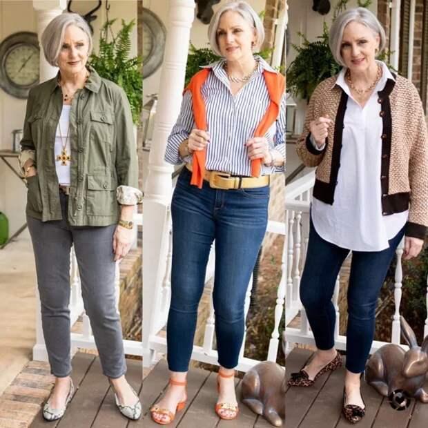 Фото 12, 13, 14 - стильные образы с джинсами.