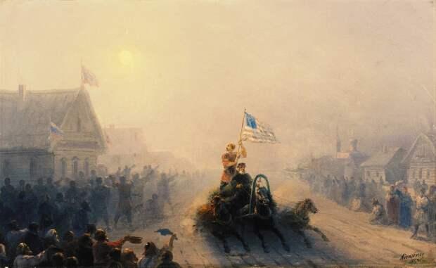 Почему на картине Айвазовского русская женщина размахивает флагом США