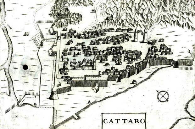 Каттаро на рисунке Коронелли 1680-х годов. Бастионные укрепления достроены позже описываемых событий - Война Священной лиги в 1539 году: тучи над Кастельнуово | Warspot.ru