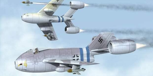 Проекты оснащения истребителей дополнительными прямоточными двигателями — совсем фантастичны. Летать такое сможет разве чтово сне. Автор рисунка — Джозеф Гаталь