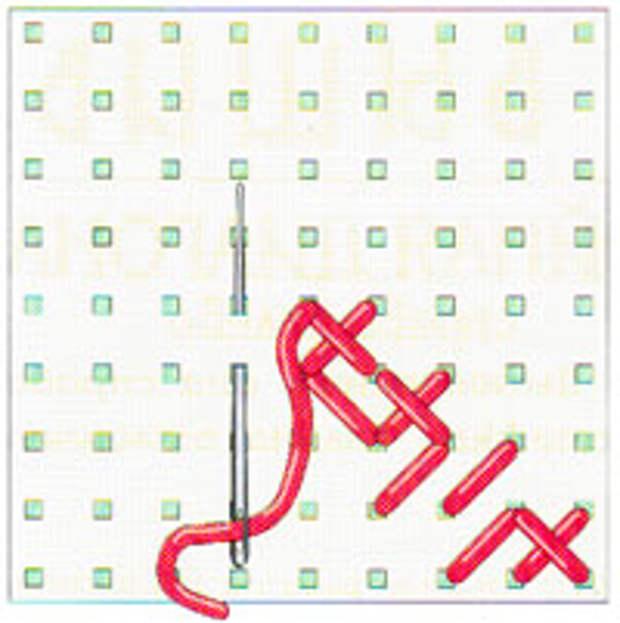 Вышивка крестиком по диагонали. Двойная диагональ справа налево (фото 10)
