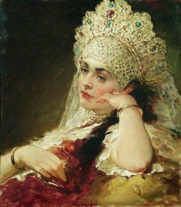 Константин Маковский, Девушка в жемчужном ожерелье. Конец 1880-х – 1890-е