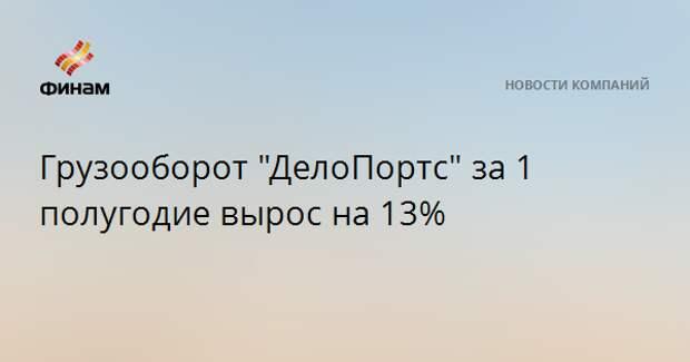 """Грузооборот """"ДелоПортс"""" за 1 полугодие вырос на 13%"""