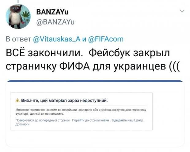 Facebook «отфутболил» украинцев за атаку на FIFA