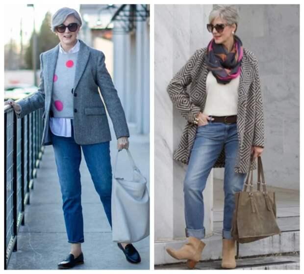 Фото 15, 16 - стильные образы с джинсами.
