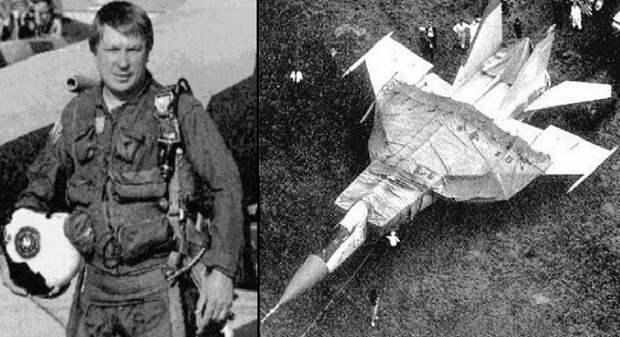 Виктор Беленко и самолёт МиГ-25, на японском аэродроме.