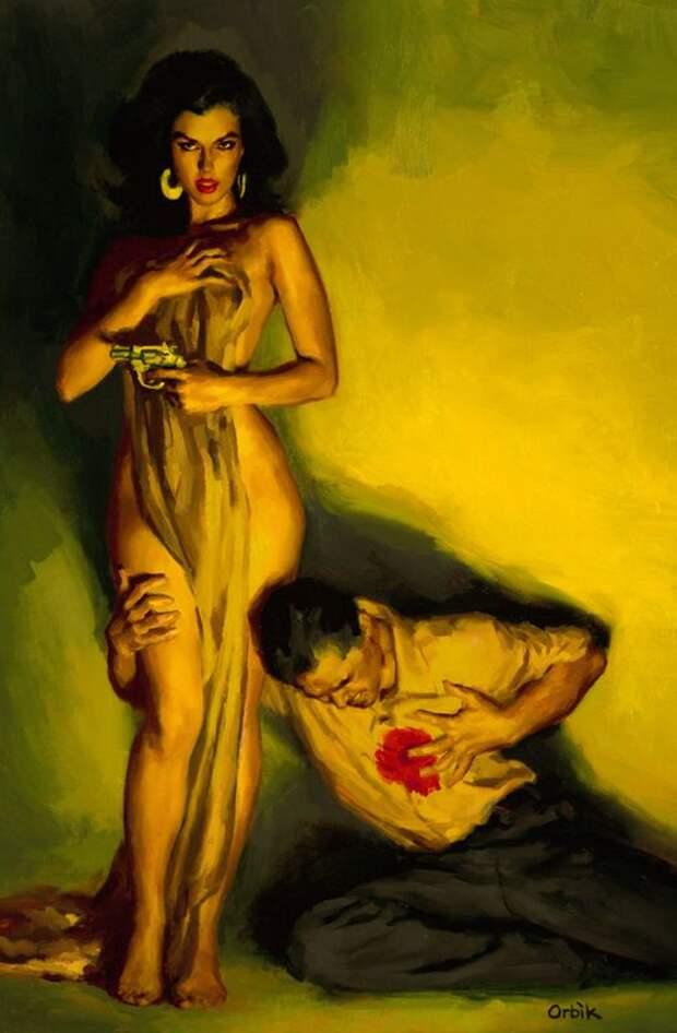 Неукротимая страсть в мрачных тонах на нуарных иллюстрациях Глена Орбика.