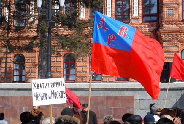 Флаг Дальневосточной республики на митинге коммунистов. Хабаровск, 2013 год