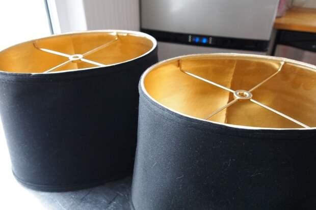 Переделка лампы: золотая краска, нанесенная на внутреннюю сторону абажура, придаст лоск, а освещение сделает приятным бюджетно, дом, идеи, креатив, ремонт, своими руками, советы, фото