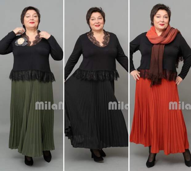 """Фото 2  - нарядные образы с юбкой  гофре - """"MilaMi""""."""