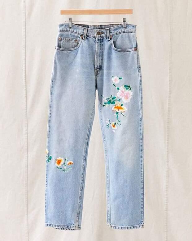 Вышитые джинсы (подборка)
