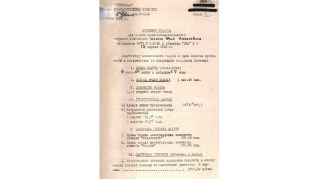 Страница из полетного задания Юрия Гагарина. ЦА РКВ. Ф.19, оп. 114cс, д.15