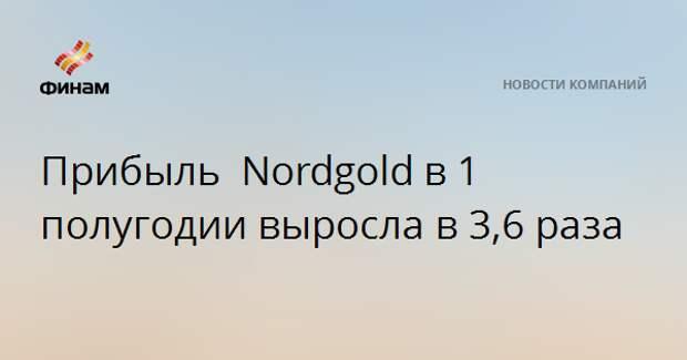 Прибыль Nordgoldв 1 полугодии выросла в 3,6 раза