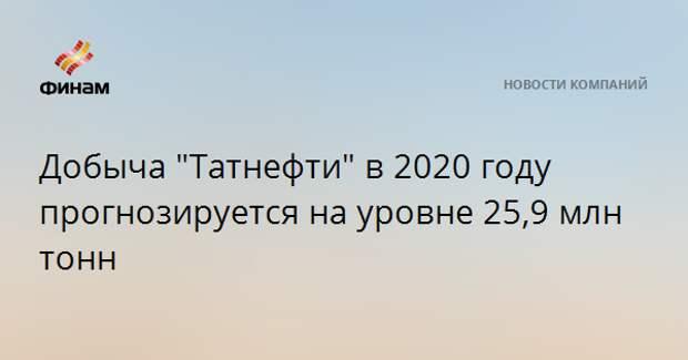 """Добыча """"Татнефти"""" в 2020 году прогнозируется на уровне 25,9 млн тонн"""