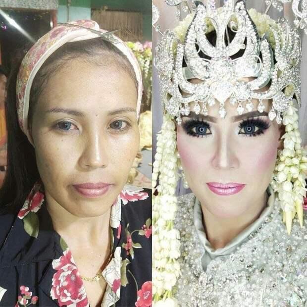 Там невесты на свадебную церемонию надевают платья из дорогих тканей, а голову украшают платком и богато выглядящей короной боевой раскрас, красота, люди, макияж, невеста, фото