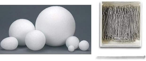 Новогодние поделки - Пенопластовые шары разного размера и булавки