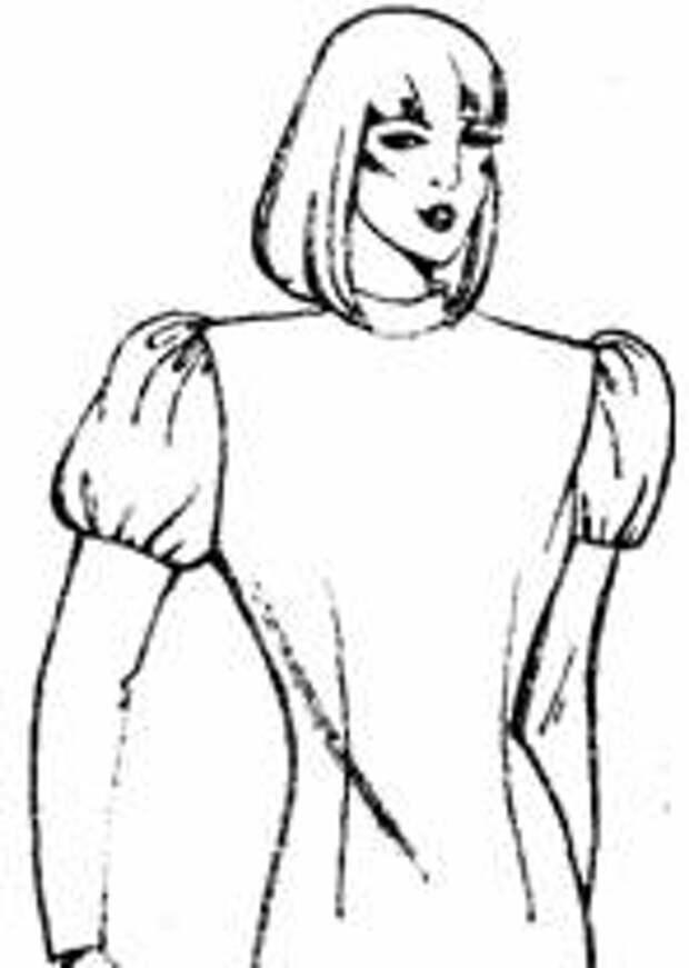 фасон рукава с увеличенным  объемом в верхней  части и уменьшенный к низу
