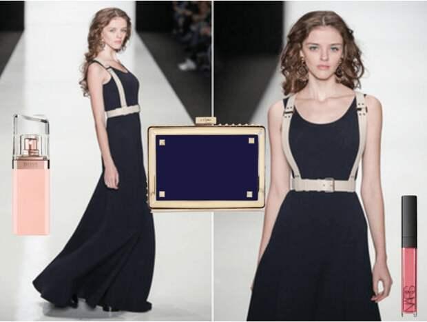 Белая портупея, развивающее миди-платье, клатч, серьги, косметика