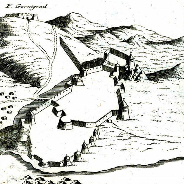 Кастельнуово, перестроенный османами, на рисунке Коронелли 1680-х годов. Направление на север — примерно влево и вверх - Война Священной Лиги в 1539 году: падение Кастельнуово | Warspot.ru