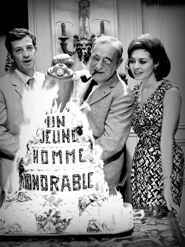 Мишель Мерсье и Жан-Поль Бельмондо на юбилее Шарля Венеля.