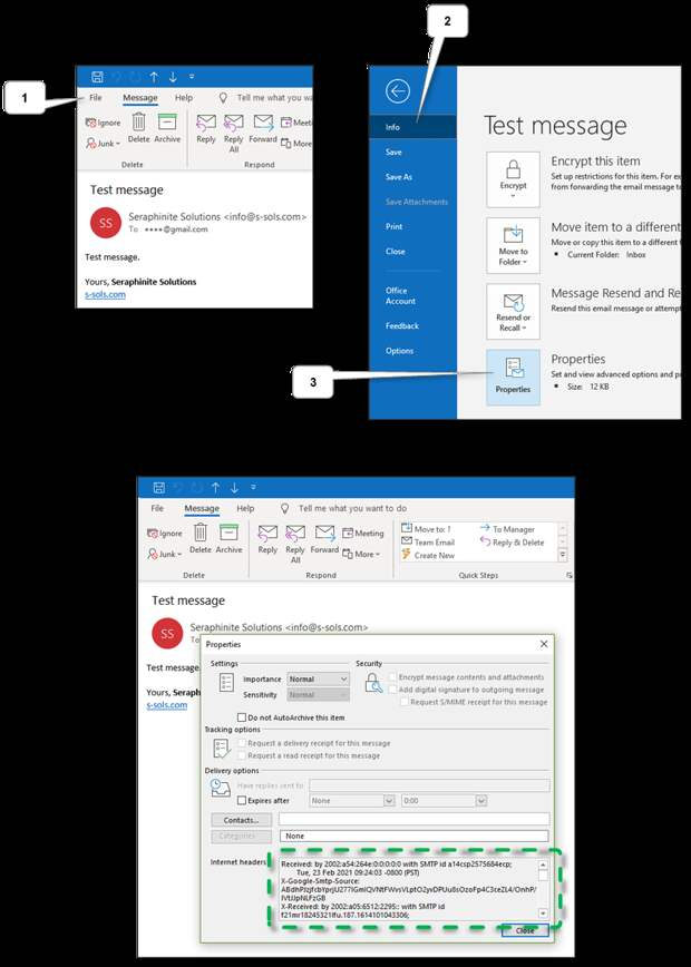 Gmail outlook message headers