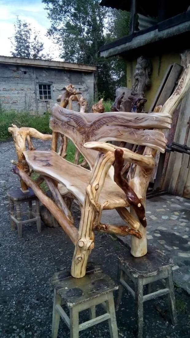 Начнем, пожалуй, с мебели. На чем посидеть - лавочки, стульчики, диванчики, креслица Фабрика идей, дом, коряги, красота, мастерство, мебель, палки, уют
