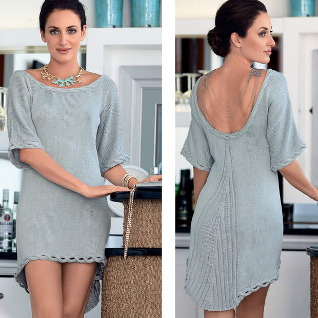 Асимметричное мини-платье с глубоким вырезом на спинке: вяжем спицами
