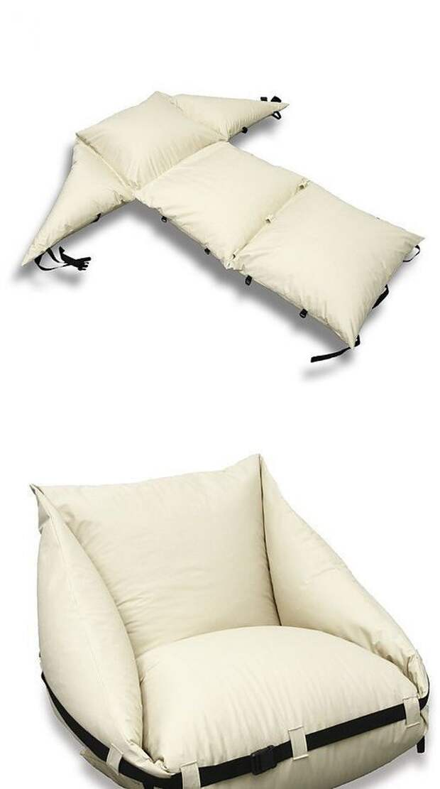 Идеи складной мебели из подушек и матрасов.