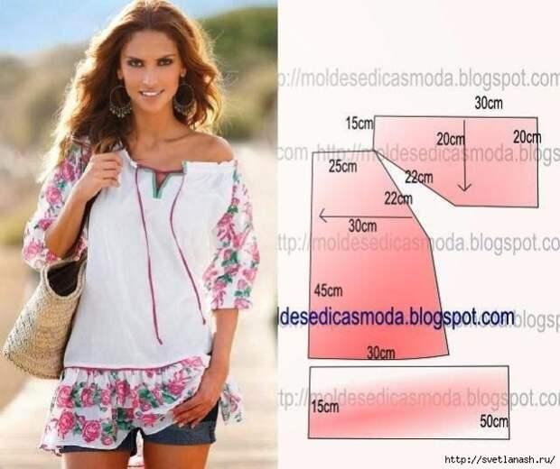 Летние блузки, топы, майки - большая подборка, шитье и крой