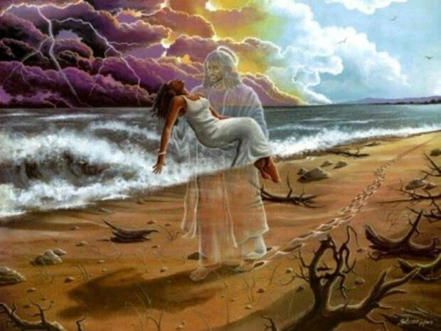 Женщина, фауна и небо