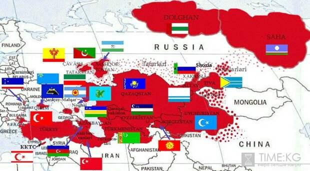 Карта государств и иных тюркоязычных образований, которые могут войти в состав Великого Турана