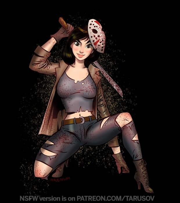 Принцессы Диснея косплеят известных героев (маньяков) из фильмов ужасов.