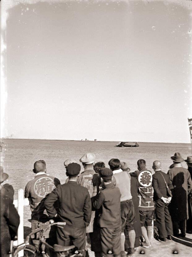 Men Watching Gliders, 1930s Japan