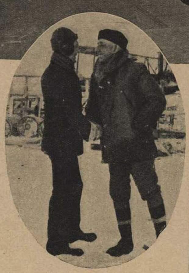 Амундсен (справа) поздравляет Берда после возвращения