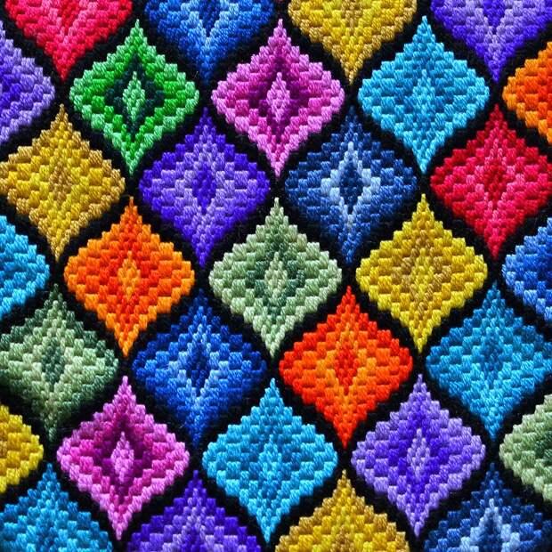 Флорентийская  вышивка барджелло - просто и эффектно (техника и схемы)