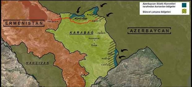 Карта-схема продвижения азербайджанской армии в Нагорном Карабахе на 04 10 2020