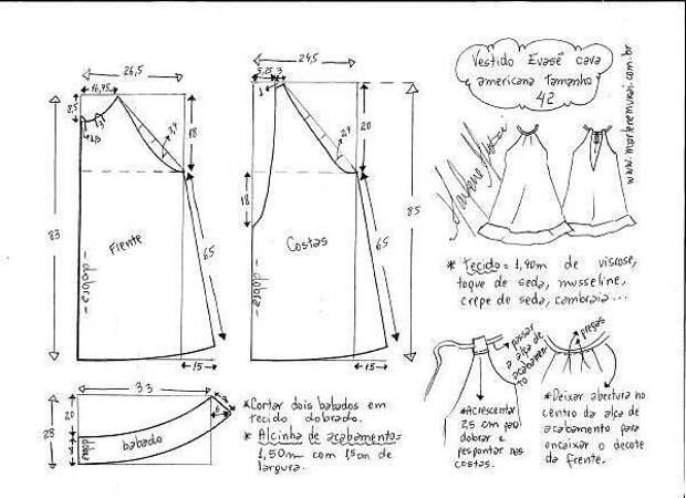 простые выкройки платье-сарафан  для  жары
