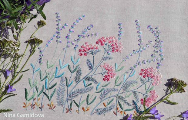 Вышивка декоративными швами, процесс.