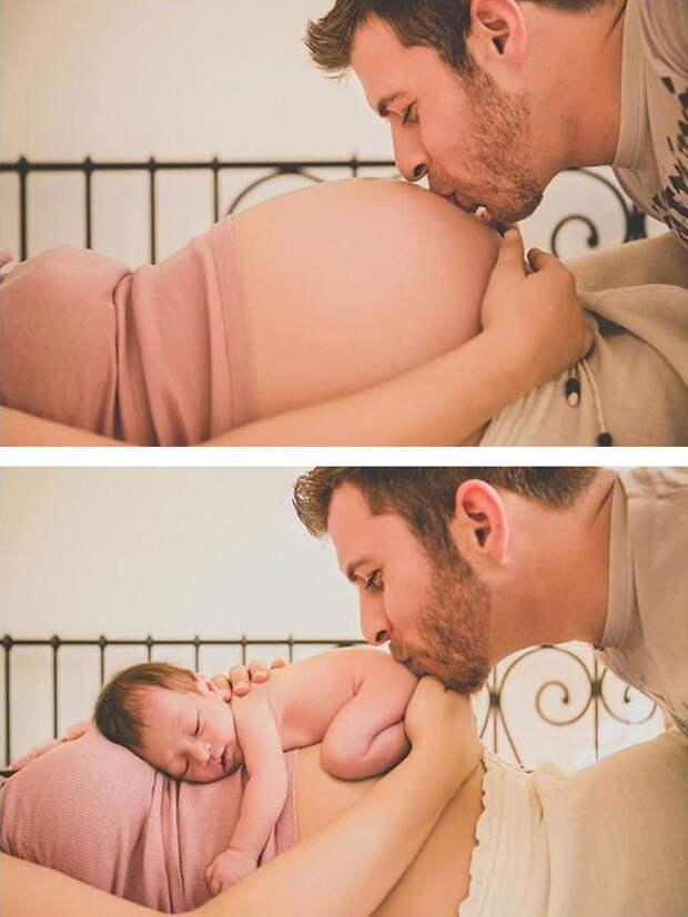 15 фотографий до и после родов: подборка вдохновения