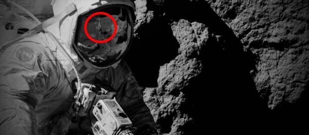 Как объяснить фотографию человека без скафандра в отражении шлема астронавта