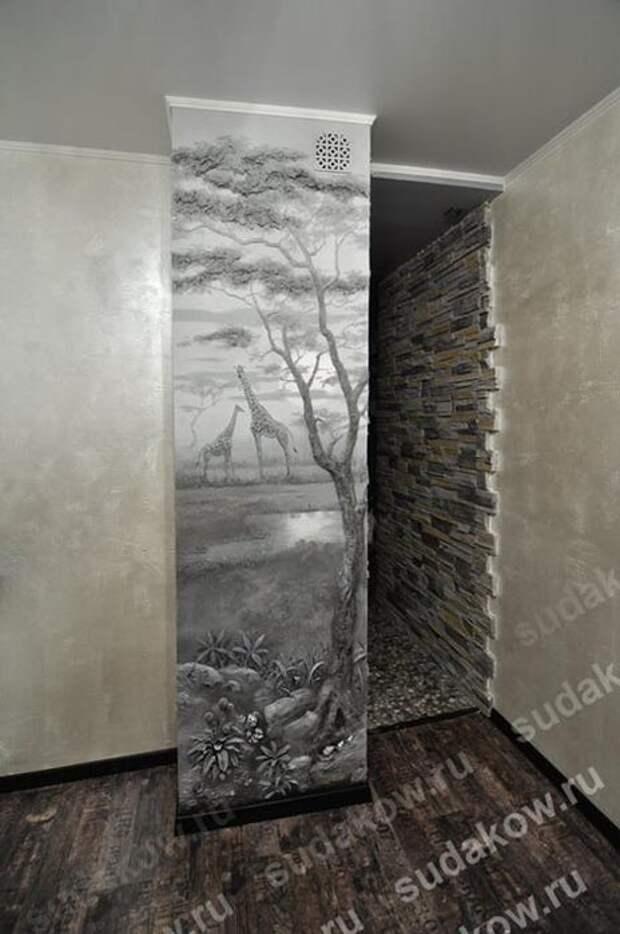 рельеф,фактура, картина панно,жирафы,вытяжка,оформление кухни/3079248_kartina_iz_shtukaturki (464x700, 50Kb)