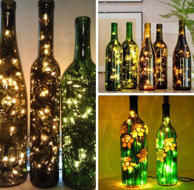 светильник из бутылки