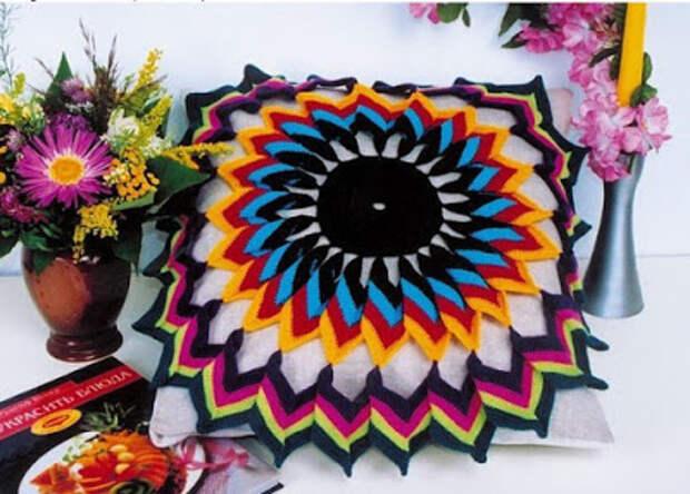 Салфетка цветок крючком схема