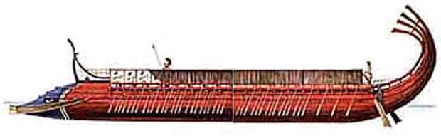 Триера раннего дизайна VI в. до н.э.